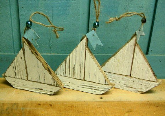 Sailboat Ornaments Beach House Decor Signs Set