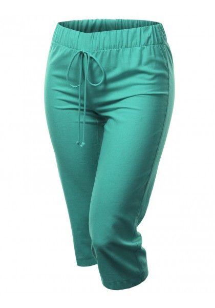 Elastic Drawstring Waist Linen Capri Pants #jtomsonplussize