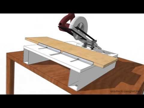 Cómo hacer una ingletadora casera, con una sierra circular portátil (1).. - YouTube | varios | Pinterest