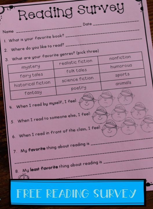 FREE Reading Interest Survey - this will be great for back to school and planning small groups and book clubs!