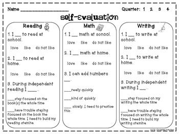 Student Self Evaluation for Report Cards or Conferences -