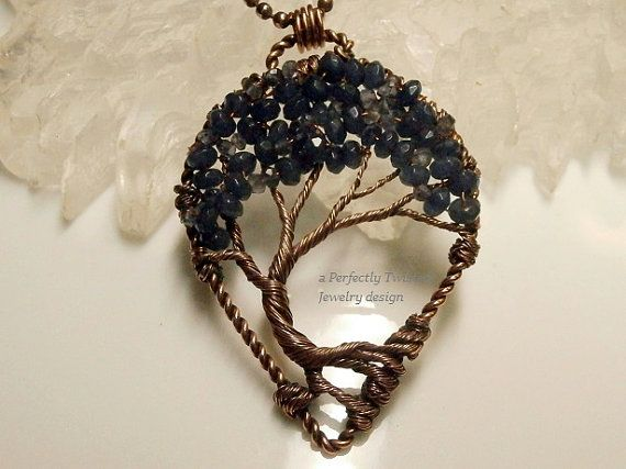 Wire Wrapped Tree of Life Pendant Sapphire by PerfectlyTwisted