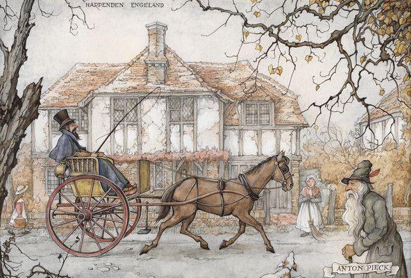 'Uit rijden, Harpenden Engeland' - Anton Pieck, 1895-1987. Ook in vroeger tijden ging men voor hun plezier een stukje rijden. Een huisvrouw is haar stoepje in Harpenden aan het vegen. Terwijl ze uitrust kijkt ze naar de passerende koets.