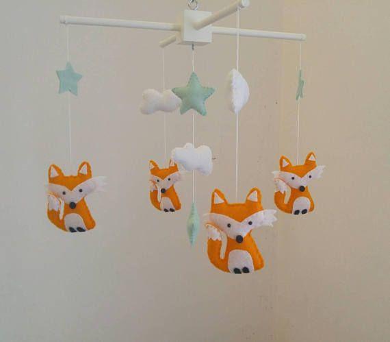 Fo Stars And Clouds Nursery Mobile Fox Baby Orange Foxeint Uni