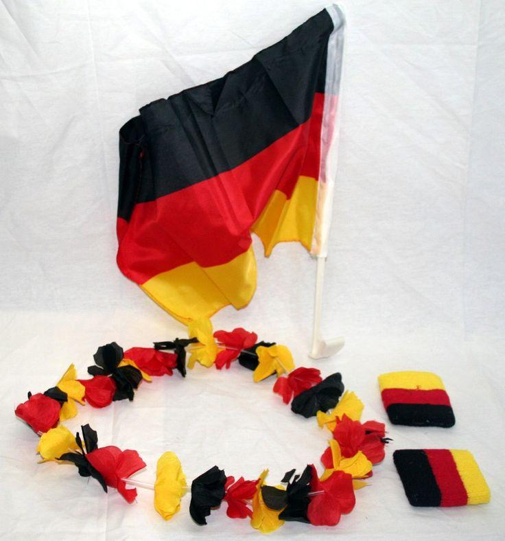 16 Teilig Deutschland Fussball Fanartikel, 8x Armband, 4 Hawaiikette, 4 Autofahne