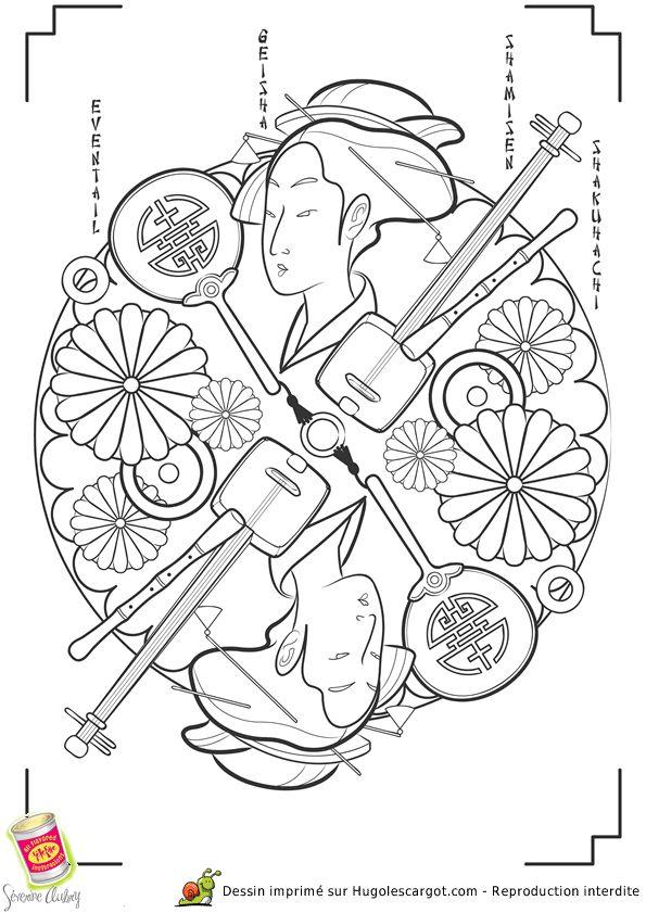 Mandala Geisha avec ses instruments de musique traditionnelle, à colorier
