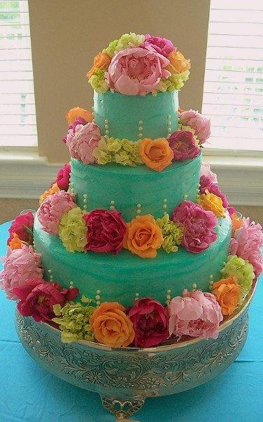Trifles' Turqoise Wedding Cake