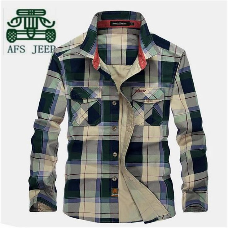 AFS JEEP Autumn Big Plaid Men's Cotton Long Sleeve Shirts,100% Cotton Motorcycle Casual Loose Cargo Shirt,Red/Blue For Men
