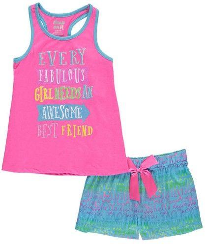 Sleep On It Big Girls' 'Fabulous Girl' 2-Piece Pajamas (Sizes 7 - 16) - fuchsia/multi, 7-8