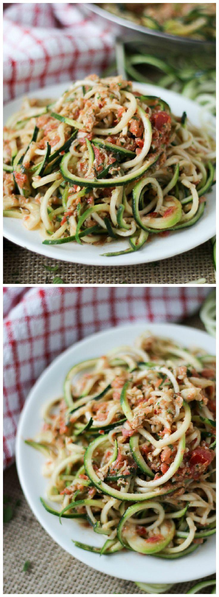 Spiralized Zucchini Noodles with Mint Pesto