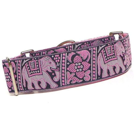 15 PINK ELEPHANTS Martingale Dog Collar by GreytEscape on Etsy, $20.00