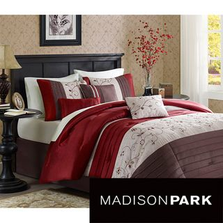 Madison Park Belle 7 Piece Poly Polyoni Classic Woven Comforter Set  (Queen), Red (Polyester, Floral)