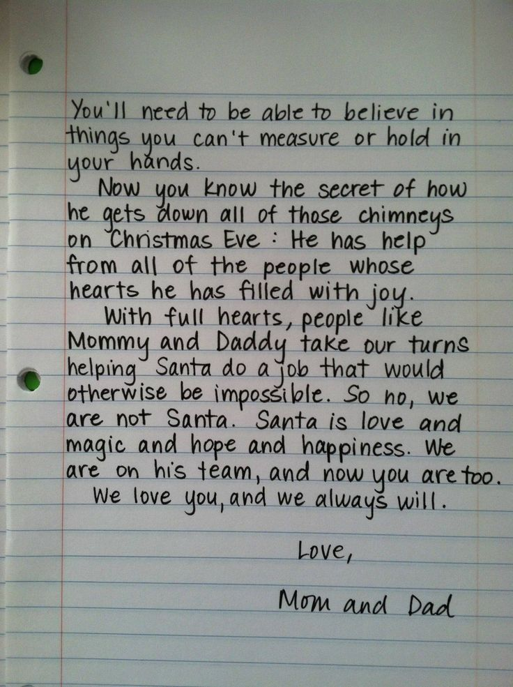 letter to your child about Santa