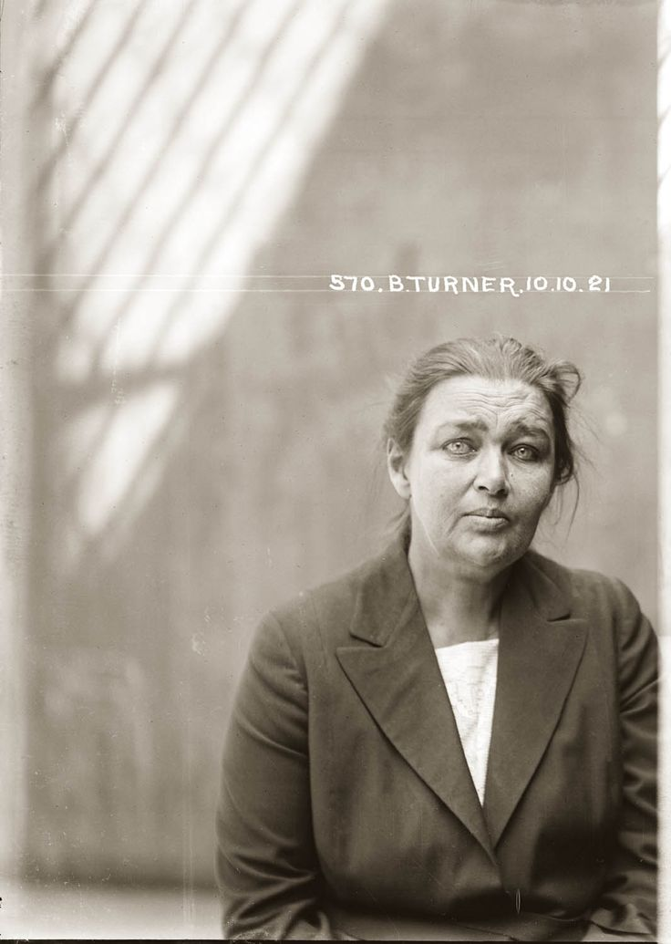 Barbara Turner (alias Tierney, Tiernan, Taylor, Florence Gillespie or Jessi Turner, sometimes known as Barbara Turner Taylor) was a 'confidence woman' who operated in Sydney, Newcastle, Brisbane and Perth from the 1890s until the 1920s, and possibly beyond. This photograph was taken after she was arrested for defrauding one Henry Placings in Sydney of 106 pounds, by borrowing against a forged cheque, for which she received a year's imprisonment. 1921