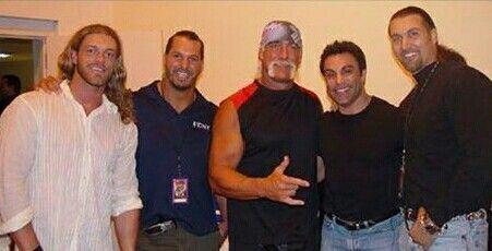 Edge, Chris Kanyon, Hulk Hogan, Mark Mero and Dale Torberg