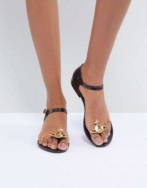 shop good looking authentic Vivienne Westwood for Melissa Honey Black Orb Flat Sandals ...