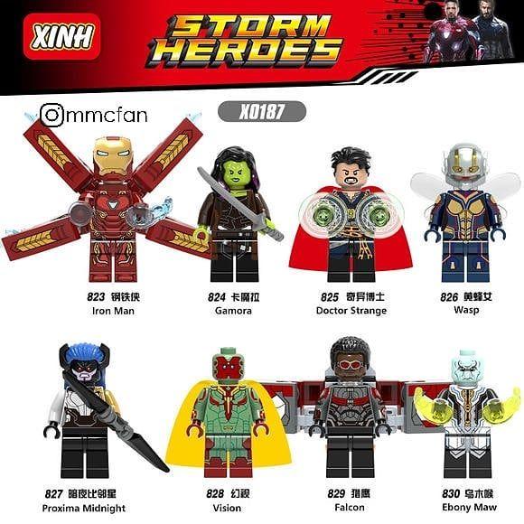America Lego compatibili Avengers minifigures Gamora Nebula Cpt Marvel Wasp