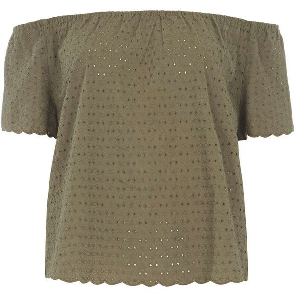 Dorothy Perkins Khaki All Over Lace Bardot Top (€39) ❤ liked on Polyvore featuring tops, khaki, brown tops, scalloped lace top, dorothy perkins, lace top and brown lace top