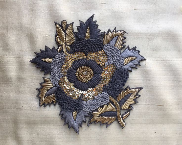 Grey Gold Floral Embroidery Applique,Indian Handmade Cutwork Sequins Zardozi Embroidery Patch,Roses Boho Denim Patch Bag Charm,13X11cm by IndianCraftSafari on Etsy