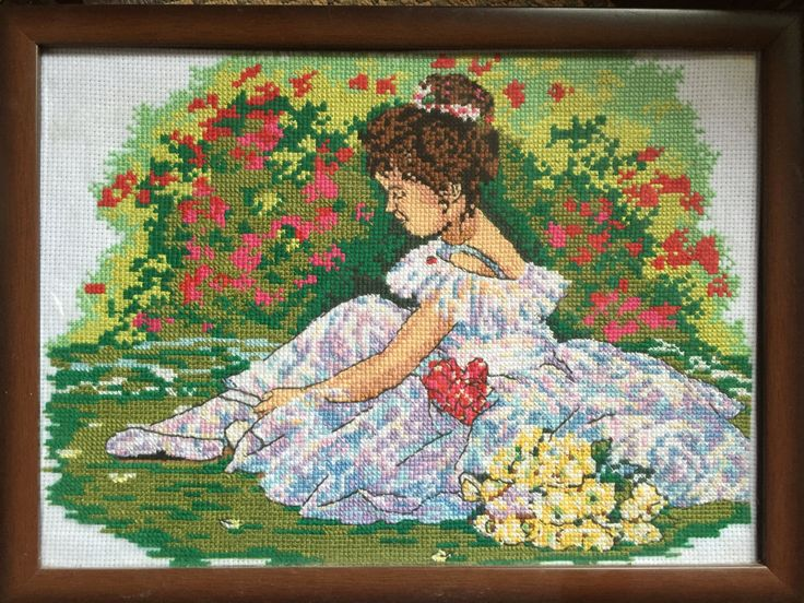 """Completed cross stitch, Home decoration, Framed cross stitch, Handmade embroidery -""""Little ballerina"""". by NattikStudio on Etsy"""
