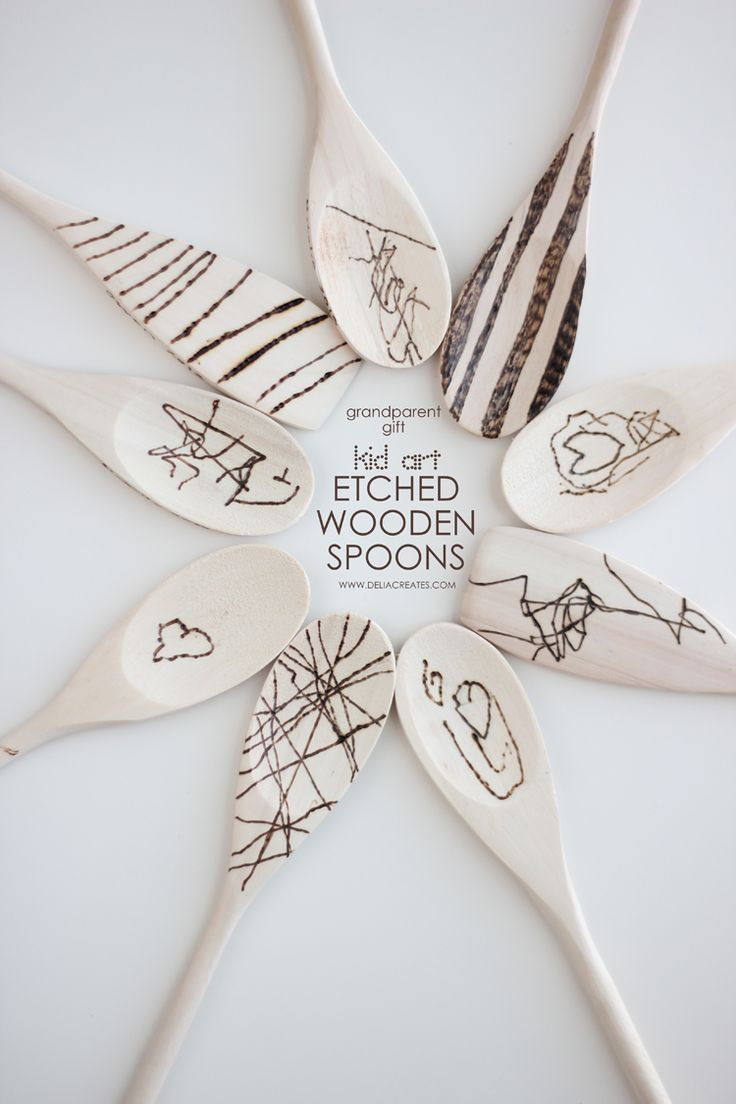 This is one keepsake grandparents can put to good use! Check out how @Delia Aguilar Zuani Creates etches her child's art onto wooden spoons. This #craft is way easier than it looks!