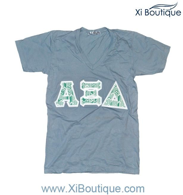 xi boutique thursday favorite alpha xi delta gray v neck wturquoise feathered