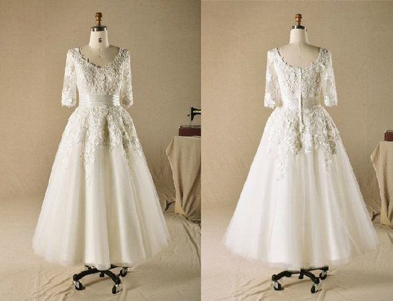 Classic And Elegant Wedding Dresses With Beautiful Lace: Custom Made Elegant Long Sleeves Dress,Tea Length Lace