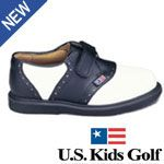 US Kids Golf US Kids Black Saddle Junior Golf Shoes Swing-Right Golf Shoes with Spikeless Star-Walker soles give kids a stable no-slip stance to aid in the development of a balanced swing. Shoes are as important for kids playing golf as they are for a http://www.comparestoreprices.co.uk/golf-shoes/us-kids-golf-us-kids-black-saddle-junior-golf-shoes.asp