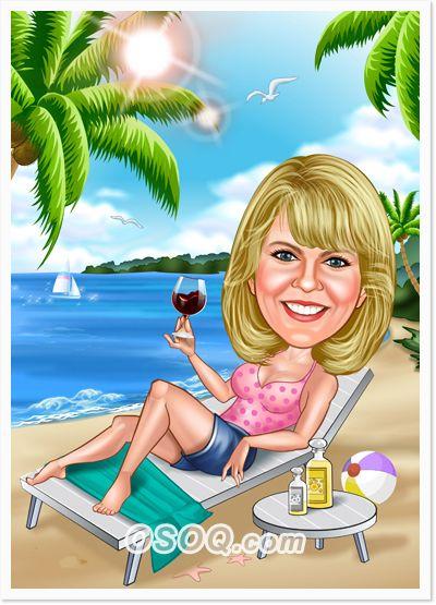 Beach Caricature | Travel Caricature | Caricature ...