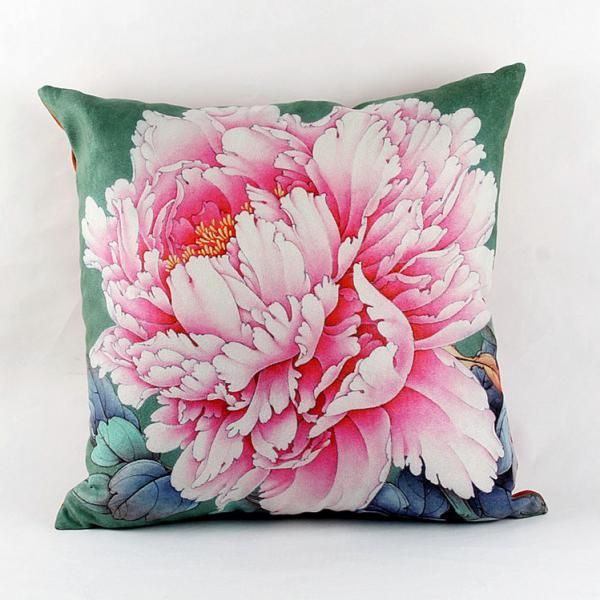 pink peony flower throw pillows for couch chinoiserie sofa cushions