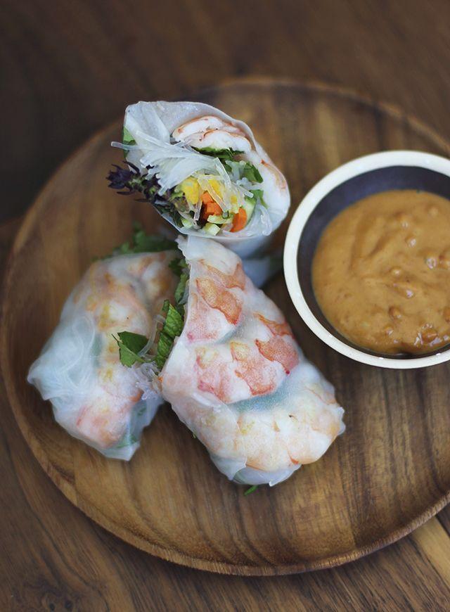Prawn spring rolls with peanut dipping sauce.yuuummm.