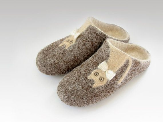 Open heel felted slippers of natural sheep and alpaca wool, brown, cream, ready to ship, US size 8,5 / EU size 38,5 by palamidaki