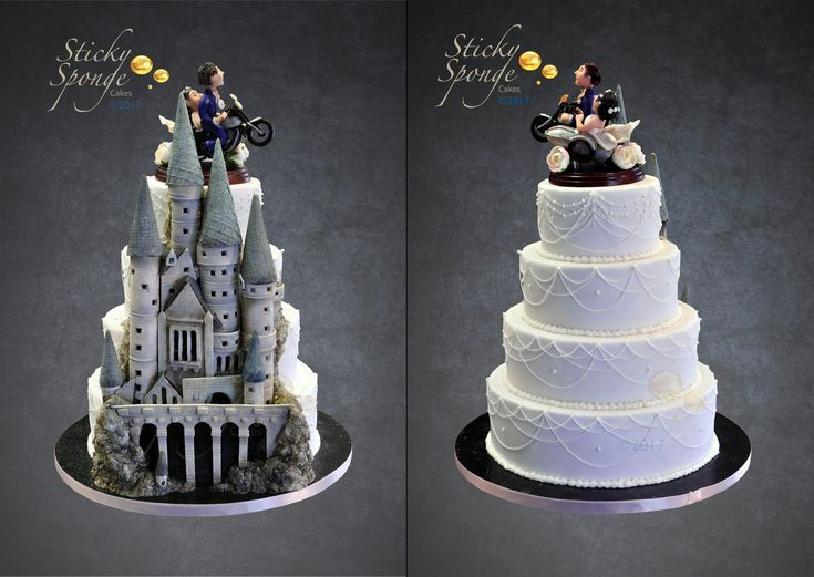 Hidden Hogwarts wedding cake Half is traditional with drop icing and hidden on the back is a sugar Hogwarts castle.