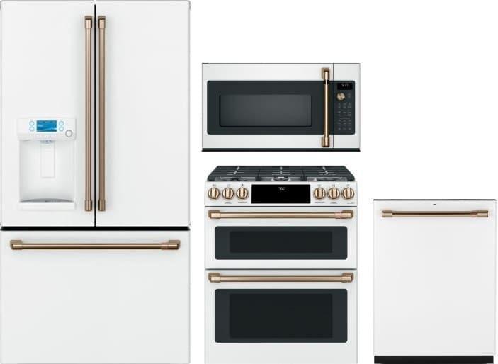 Cafe Cafreradwmw3 4 Piece Kitchen Appliances Package With French Door Refrigerato Kitchen Appliance Packages White Kitchen Appliances Kitchen Appliances Design