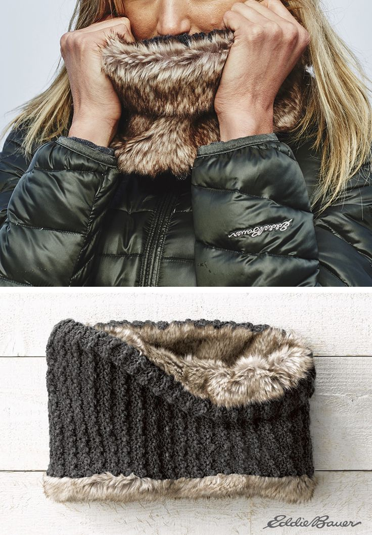 Fight the cold with the ultrasoft. Textured acrylic cowl reverses to polyester faux fur, so it's easy to quickly change the look while maintaining toasty comfort.
