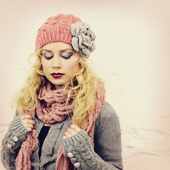 A girl can never have too many slouchy knit hats with big flowers... right?
