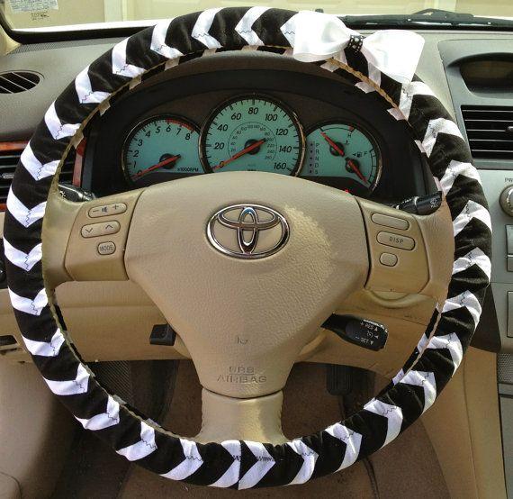 Steering Wheel Cover Black   White Chevron Fabric w White Bow  Teen  Girl   Women  Gifts  Car  Auto accessories  Chevron. 25  unique Auto accessories ideas on Pinterest   Car stuff  Auto