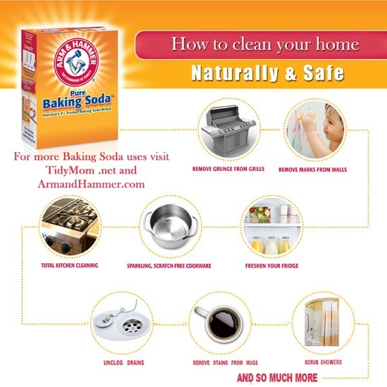 How To Clean Your Home with Baking Soda :Gluesticks Blog via Tidy Mom