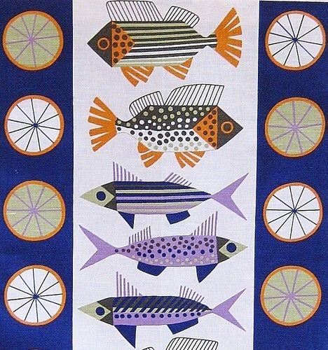 scandinavian tea towel 50s vtg era design fabric fish Almedahls retro   eBay