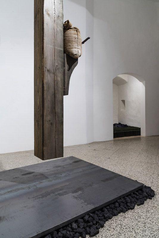 Jannis Kounellis, Senza Titolo, 1996, wood, jute sack, knife. Galleria Continua San Gimignano 2015. Photo by Ela Bialkowska.
