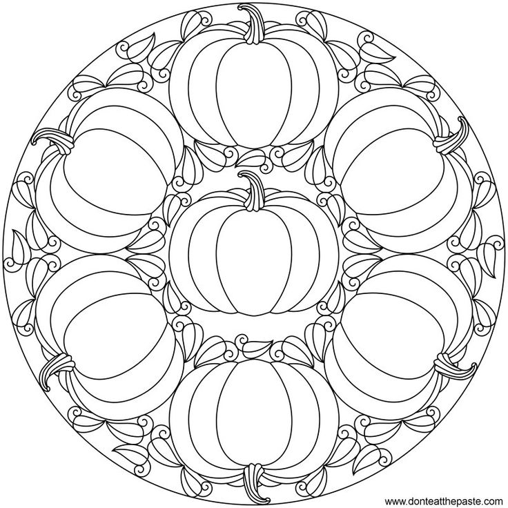 Free printable pumpkin mandala to color or embroider- available in jpg or transparent PNG