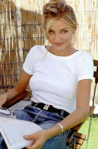 Young Cameron Diaz by Tom Allmon Studio 55---- white shirt black belt mom jeans + see through sunnies