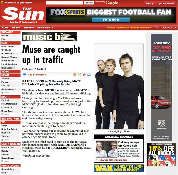 MTV EXIT & MUSE in the London Sun.