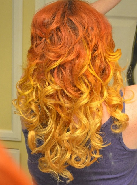 DIY Ombre Red/Orange/Yellow hair - #ombre #hairOmbre Hair Colors, Diy Ombre, Haircolor, Diy Headboards, Natural Hair, Nature Hair, Orange Hair, Yellow Hair, Curly Hair