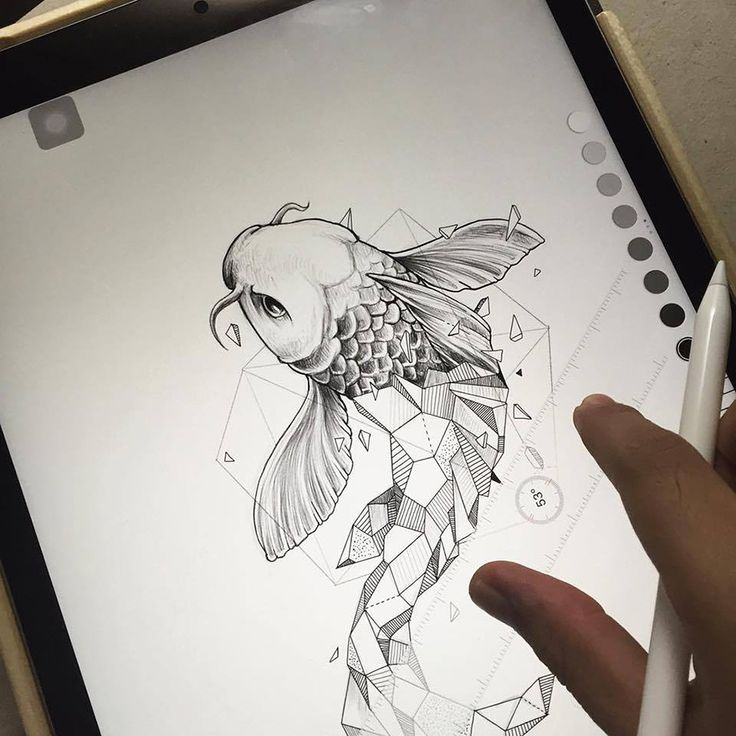 Koi Carp Fish. Geometry Coupled with Intricate Detailed of Animals. To see more art and information about Kerby Rosanes click the image.
