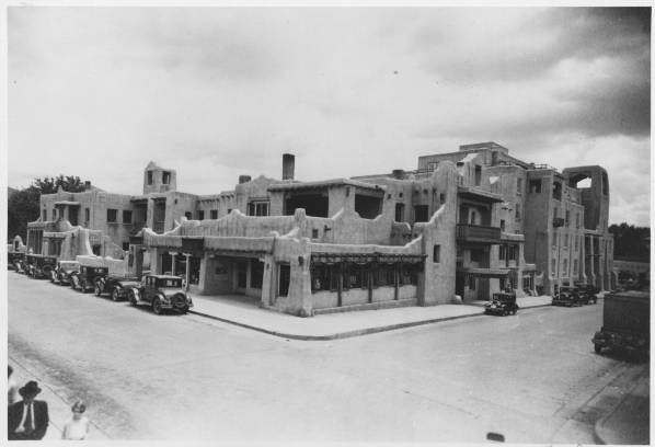La Fonda Hotel, Santa Fe, New Mexico, ca. 1920, by T. Harmon Parkhurst. Palace of the Governors Photo Archives 110467.