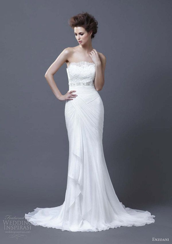 Love the flow on the bottom half of this dress... enzoani wedding dresses 2013 hanya strapless column gown