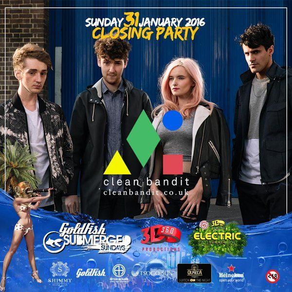 Proud to announce Clean Bandit (UK) will be performing at the FINAL #SubmergedSunday Season Closing Party on 31 Jan 2016. www.shimmybeachclub.co.za/tickets