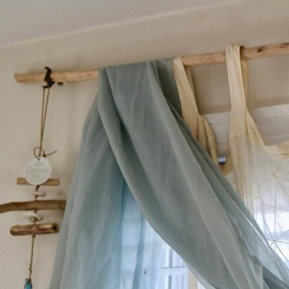Driftwood Curtain Rods With Wrought Iron Hanger 2 Driftwood Etsy