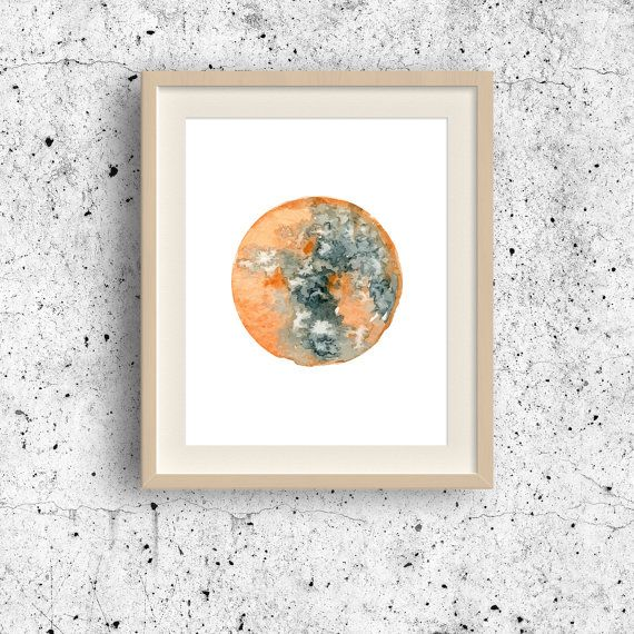 Mars watercolor art Mars Planet print Planet wall by MyGalleryWall